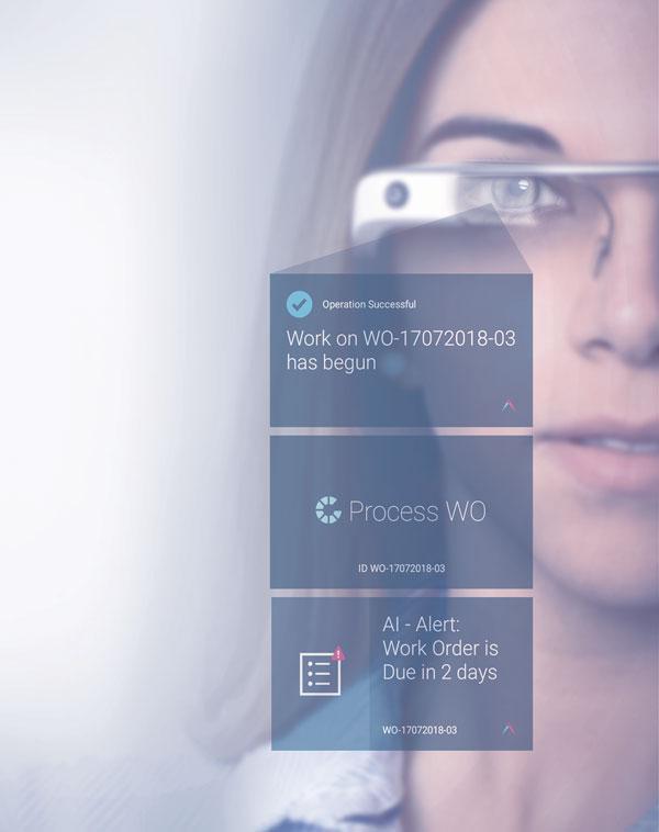 佩戴谷歌眼镜的女士,能够看到Plataine的解决方案:可穿戴的数字助手